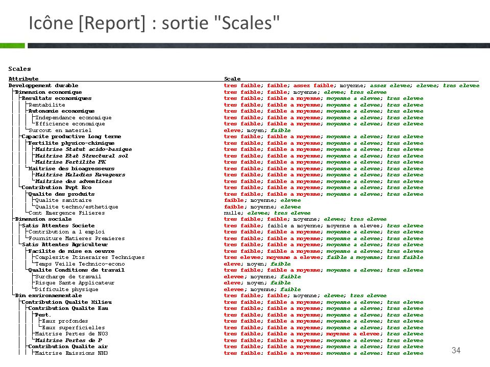 Icône [Report] : sortie Scales